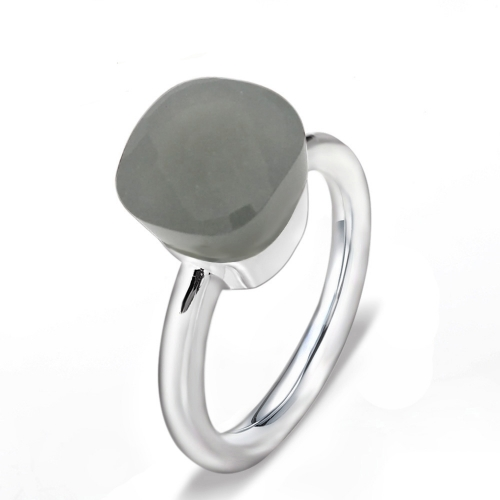 LLATO NUDO ™ Ring IN 925 STERLING SILVER WITH GREY QUARTZ