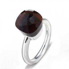 LLATO NUDO ™ Ring IN 925 STERLING SILVER WITH SMOKY QUARTZ
