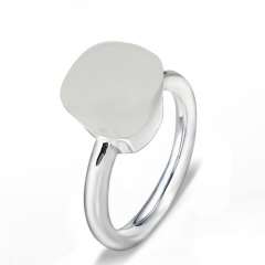LLATO NUDO ™ Ring IN 925 STERLING SILVER WITH WHITE JADE