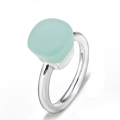 LLATO NUDO ™ Ring IN 925 STERLING SILVER WITH GREEN JADE STONE