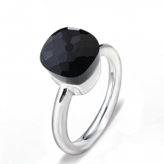 LLATO NUDO ™ Ring IN 925 STERLING SILVER WITH BLACK QUARTZ