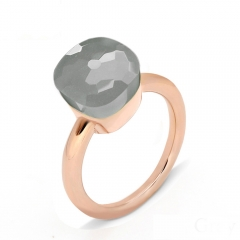 LLATO NUDO ™ Ring IN ROSE GOLD WITH GREY QUARTZ