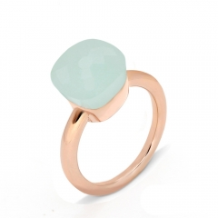 LLATO NUDO ™ Ring IN ROSE GOLD WITH GREEN JADE