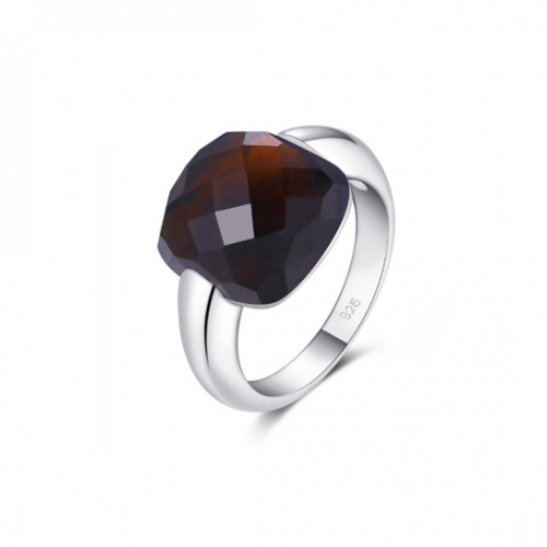 LLATO NUDO ™ Italy Inspirational Ring in Sterling silver With SMOKY Quartz