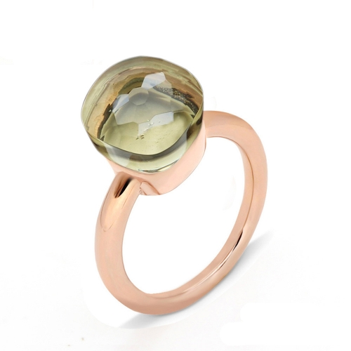 LLATO NUDO ™ Ring Classic in rose gold with lemon quartz best gift for women