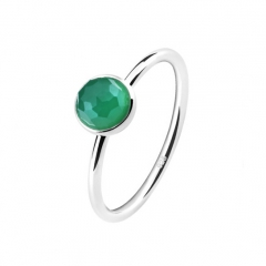 LLATO NUDO ™ Ring in 925 Sterling silver With MINI GREEN Quartz Stone