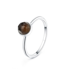 LLATO NUDO ™ Ring in 925 Sterling silver With MINI SMOKY Quartz Stone