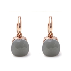 LLATO NUDO ™ EARRINGS IN ROSE GOLD WITH  GREY QUARTZ