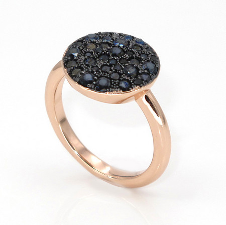 LLATO NUDO ™ Rose Gold Plated Black Zircon Ring
