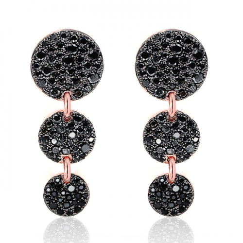 LLATO NUDO ™ Rose Gold Plated With Black Zircon Long Three Round Drop Earrings