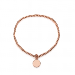 CARWENIYA® Plated Rose Gold With Round Charm 2. 5mm bead Bracelets