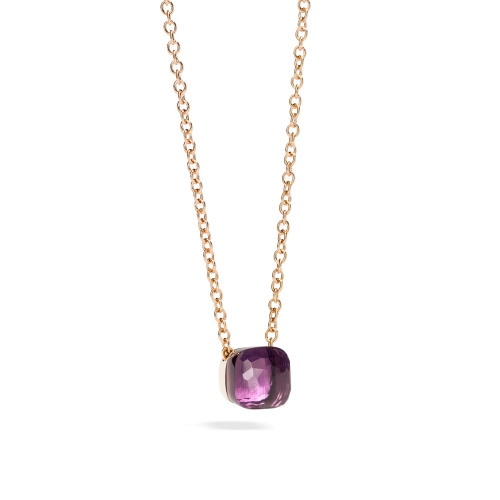 LLATO NUDO ™ PENDANT WITH AMETHYST AND CHAIN IN ROSE GOLD