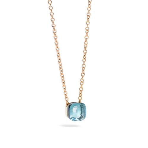 LLATO NUDO ™ PENDANT WITH BLUE TOPAZ AND CHAIN IN ROSE GOLD