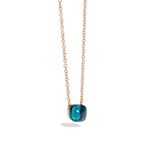 LLATO NUDO ™ PENDANT WITH LONDON BLUE TOPAZ AND CHAIN IN ROSE GOLD