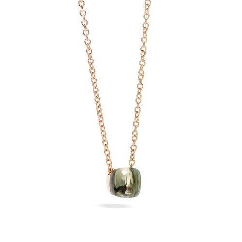 LLATO NUDO ™ PENDANT WITH PRASIOLITE AND CHAIN IN ROSE GOLD