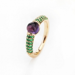 LLATO NUDO ™ RING IN 18k GOLD WITH AMETHYST AND INLAY GREEN ZIRCON