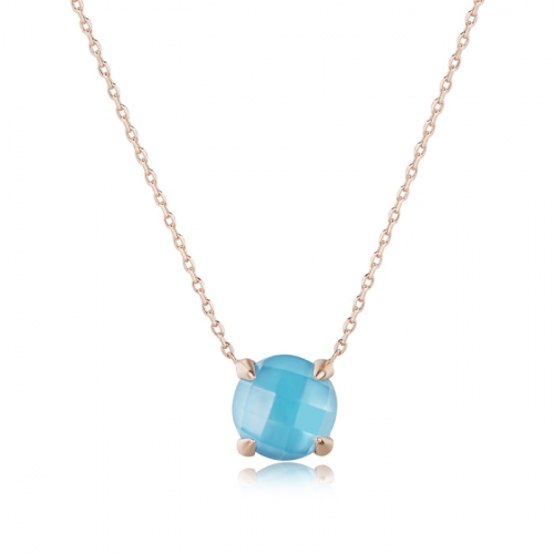 LLATO NUDO ™ Necklaces in Sterling Silver Rose Gold Plated With Charm Natural Blue Quartz