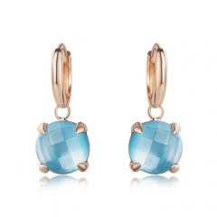 LLATO NUDO ™ Earrings in Sterling Silver Rose Gold Plated With Natural Blue Quartz