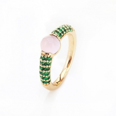 LLATO NUDO ™ RING IN 18k GOLD WITH PINK QUARTZ  AND INLAY GREEN ZIRCON