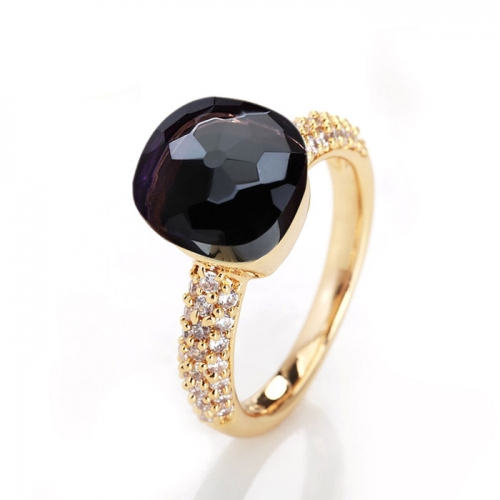 LLATO NUDO ™ RING IN 18k GOLD WITH AMETHYST AND DIAMONDS