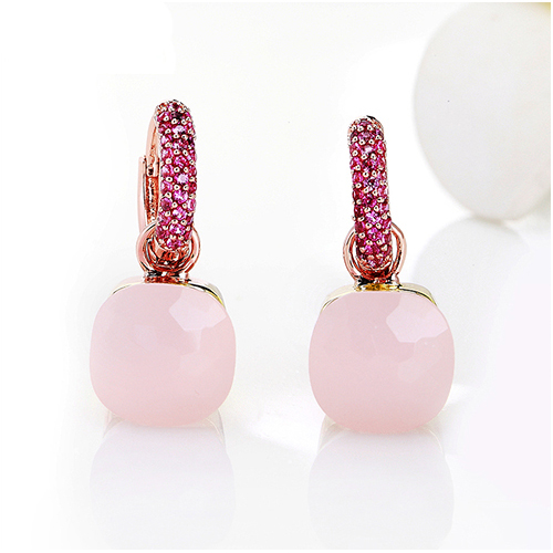LLATO NUDO™ LUXURY STYLE EARRINGS IN ROSE GOLD WITH PINK QUARTZ AND ZIRCON