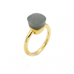 LLATO NUDO ™ Ring IN 18K GOLD WITH GREY QUARTZ