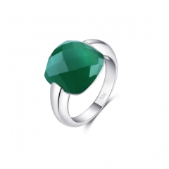 LLATO NUDO ™ Italy Inspirational Ring in Sterling Silver With Emerald