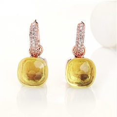 LLATO NUDO™ luxury fashion style cz earrings in rose gold with lemon quartz best gift for women