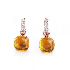 LLATO NUDO™ luxury fashion style cz earrings in rose gold with madeira topaz best gift for women