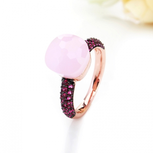 LLATO NUDO™ luxury style fashion rings in rose gold with quartz stone and inlay red zircon best gift for women