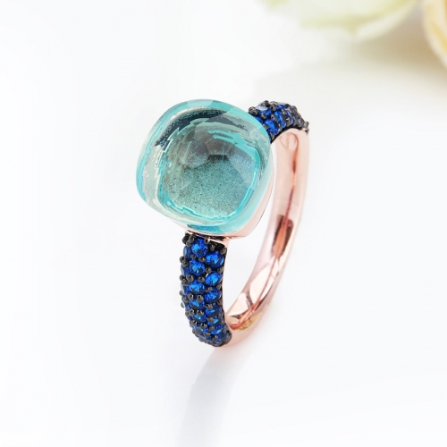 LLATO NUDO™ luxury style fashion rings in rose gold with quartz stone and inlay blue zircon best gift for women