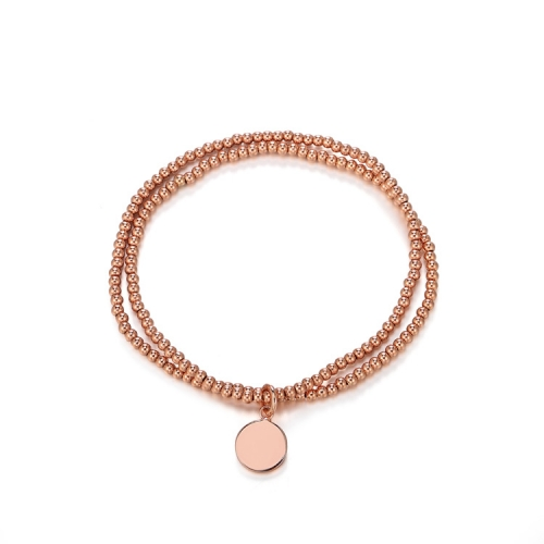 CARWENIYA® plated rose gold with round charm 2. 5mm bead bracelets Double