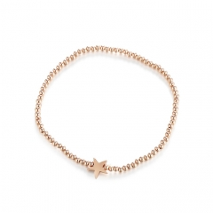 CARWENIYA® Plated Rose Gold With Star Charm 2. 5mm bead Bracelets