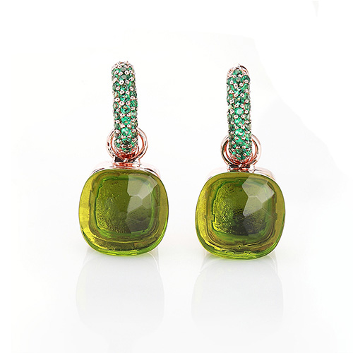 LLATO NUDO™ luxury style fashion green zircon earrings in rose gold with quartz stone best gift for women