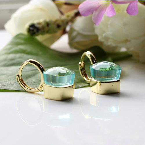 LLATO NUDO ™ EARRINGS IN 18k GOLD WITH BLUE TOPAZ TOP SALE