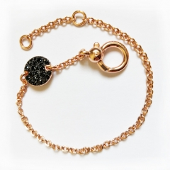 LLATO NUDO ™ Links Bracelet Rose Gold Plated With Round Charm Inlay Black Zircon