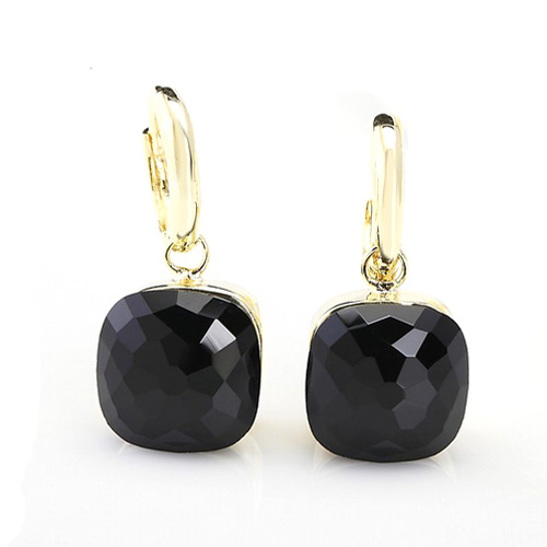 LLATO NUDO ™ EARRINGS IN 18k GOLD WITH  BLACK QUARTZ