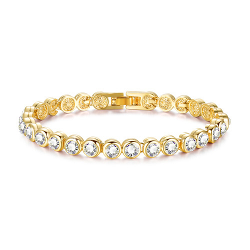 Blue Pixie ®  Stainless Steel Gold Plated Classic Tennis Bracelet with Cubic Zirconia