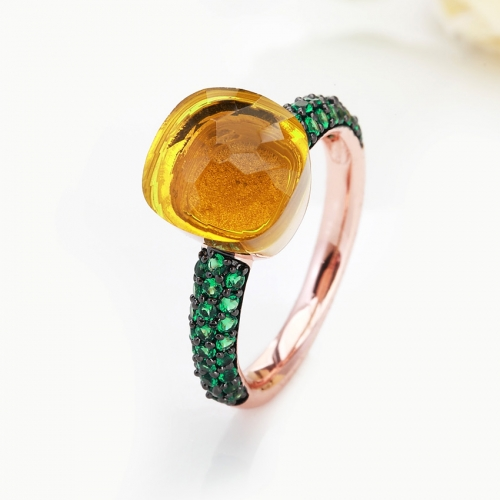 LLATO NUDO™ luxury style fashion rings in rose gold with quartz stone and inlay green zircon best gift for women