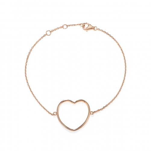 CARWENIYA® Bracelet in 925 Sterling Silver Rose Gold Plated With love heart Charm
